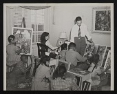 view Photograph of Richard Dempsey teaching a group of young art students digital asset number 1