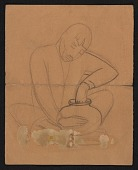 view Sketch of a seated man shaping a pot digital asset number 1
