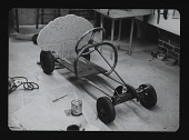 view Photograph of basic structure of </em>Tongue-tied</em> Artists' Soap Box Derby car by Eleanor Dickinson digital asset number 1