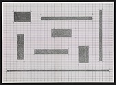view An exhibition poster featuring a reproduction of Carl Andre's <em>Cuts</em> digital asset number 1