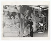 view Abraham Lishinsky and assistants working on mural digital asset number 1