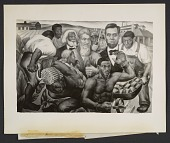 view The completed <em>Emancipation of the Negro Slaves</em> panel of Eitaro Ishigaki's <em>The Civial War</em> mural at the Harlem Courthouse in New York digital asset number 1
