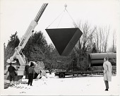 view Ronald Bladen watching the installation of his sculpture <em>Black Triangle</em> digital asset number 1