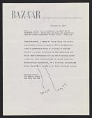 view Harper's Bazaar memorandum about the exhibit <em>Nude environment</em> digital asset number 1
