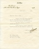 view Anwar Sadat, Cairo, Egypt letter to Audrey Flack, New York, N.Y. digital asset number 1