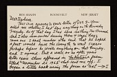 view Ben Shahn, Roosevelt, N.J. letter to Barbara Fleischman, Detroit, Mich. digital asset number 1