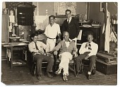 view Raymond Eastwood, Edwin Dickinson, Charles Hawthorne, John R. Frazier, and Dr. H.T. Tracy at Dickinson's Pearl St. studio digital asset number 1