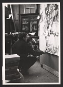 view Sam Francis in his Paris studio, working on his painting titled <em>Painting</em> digital asset number 1