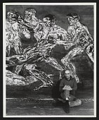 view Leon Golub with his painting <em>Gigantomachy III</em> digital asset number 1