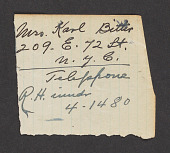 view Photographs of Karl Francis Theodore Bitter and Gustave Gerlach digital asset: Addresses and Notes