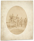 view Sanford R. Gifford and others posed near a cannon. digital asset number 1