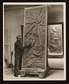 view Chaim Gross at work on his sculpture <em>Six days of creation</em>, segment for day four digital asset number 1