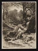 view Etching of a man sitting by a creek digital asset number 1