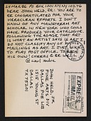 view Carl Andre postcard to John Held Jr. digital asset number 1