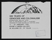view <em>500 Years of Genocide and Colonialism</em> exhibition announcement to John Held Jr. digital asset number 1