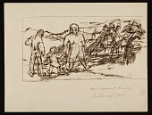 view Sketch of two adults and a child walking in the country digital asset number 1