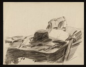 view Sketch of a hat and papers on a table digital asset number 1