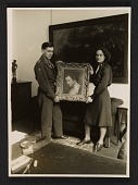 view Raymond Lemaire and Edith Standen holding a Rubens portrait at Wiesbaden Collecting Point digital asset number 1