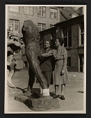 view Rose Valland and Edith Standen inspecting a statue at Wiesbaden Collecting Point digital asset number 1