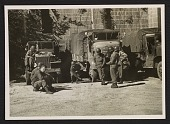 view Soldiers standing in front of trucks for transporting art recovered in the salt mines at Altaussee, Austria digital asset number 1