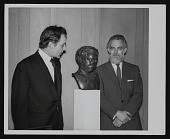 view Photograph of Richard Burton and Paul Jenkins with bust of Dylan Thomas digital asset number 1