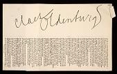 view Claes Oldenburg artist's statement for the <em>Environments, situations, spaces</em> catalog digital asset number 1
