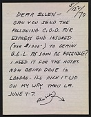 view Claes Oldenburg letter to Ellen H. Johnson digital asset number 1