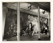 view Rockwell Kent and assistants working on his mural for the World's Fair digital asset number 1
