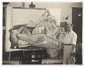 view Leon Kroll standing next to one of his paintings digital asset number 1