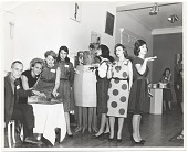 view Joan Kron and others at the opening of the exhibition <em>Art 1963-A New Vocabulary</em>, organized by the Arts Council of the Young Men's and Young Women's Hebrew Association, Philadelphia, PA. digital asset number 1
