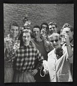 view Photograph of Katharine Kuh and workmen toasting at the U.S. Pavilion at the Venice Biennale digital asset number 1
