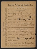 view Armory Show entry form for Morgan Russell's painting <em>Capucines</em> digital asset number 1