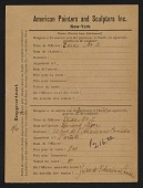 view Armory Show entry form for Fernand Leger's painting <em>Etude no. 2</em> digital asset number 1