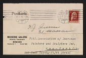 view An entry card from Heinrich Thannhauser of the Moderne Galerie to the Association of American Painters and Sculptors, inc. digital asset number 1