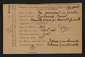 view Armory show entry form for Marcel Duchamp&apos;s painting <em>Nude descending a staircase</em> digital asset number 1