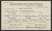 view Yasuo Kuniyoshi's alien registration address record card digital asset number 1