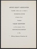 view Artists Equity Association invitation to Yasuo Kuniyoshi testimonial dinner digital asset number 1