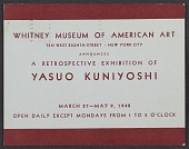 view Whitney Museum of American Art announcement for the retrospective exhibition of Yasuo Kuniyoshi digital asset number 1