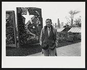 view Photograph of Val Laigo next to his mosaic in Dr. Jose Rizal Park, Seattle, Washington digital asset number 1