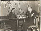 view Abril Lamarque and Xavier Cugat with an unidentified man at a restaurant digital asset number 1