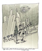 view Man walking with New York City in the backdrop digital asset: drawing
