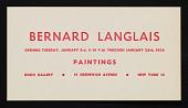 view Announcement for <em>Bernard Langlais Paintings</em> exhibition at Roko Gallery digital asset number 1