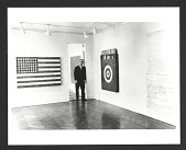 view Leo Castelli in a room of the Jasper Johns exhibit at the Castelli Gallery digital asset number 1