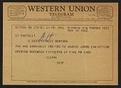 view Telegram from Ileana Sonnabend inviting Leo Castelli to the opening of a Jasper Johns exhibition digital asset number 1