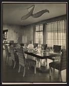 view Dining room with chairs upholstered in fabric by Dorothy Liebes digital asset number 1