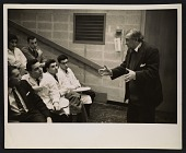 view Jaques Lipchitz speaking to medical students, Albert Einstein Medical College, Yeshiva University digital asset number 1