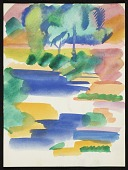 view Erle Loran watercolor landscape of water and trees digital asset number 1
