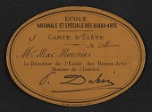 view Ecole des Beaux-Arts student card for Frederick William MacMonnies digital asset number 1