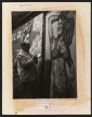 view Reginald Marsh sketching a poster of a tattooed woman digital asset number 1