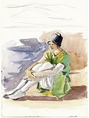 view Sketch of a seated girl digital asset: page 1